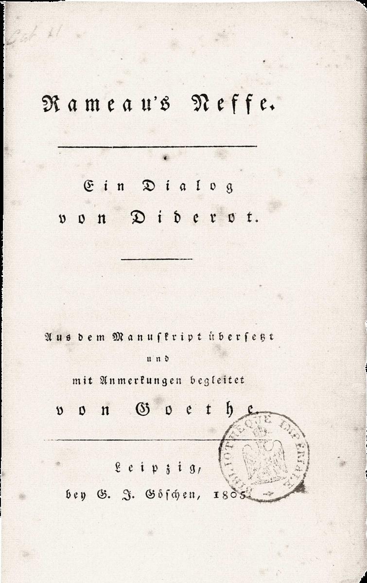 Le neveu de Rameau, traduction en allemand de Goethe, page de couverture